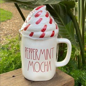 New Rae Dunn HTF White PEPPERMINT MOCHA Topper Mug